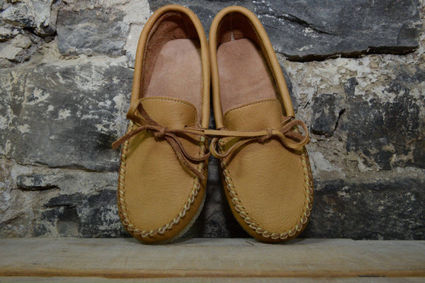 Moccasin: Unlined moose hide with rubber sole