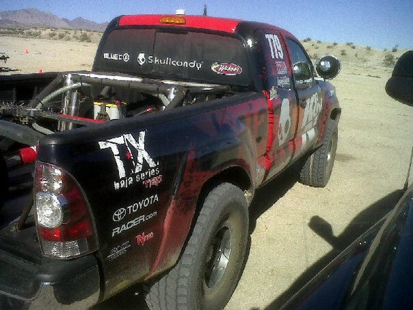 Just finished 2 practice laps in Laughlin – course is fast but rough.