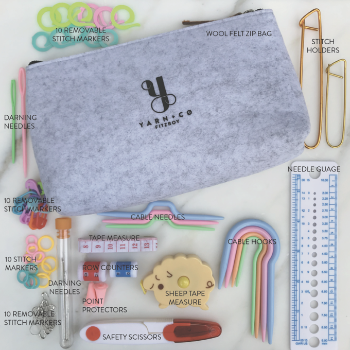 yarn and co fitzroy melbourne victoria australia essentials pack contains darning needles stitch markers cable needles row counters point protectors scissors needle gauge tape measures