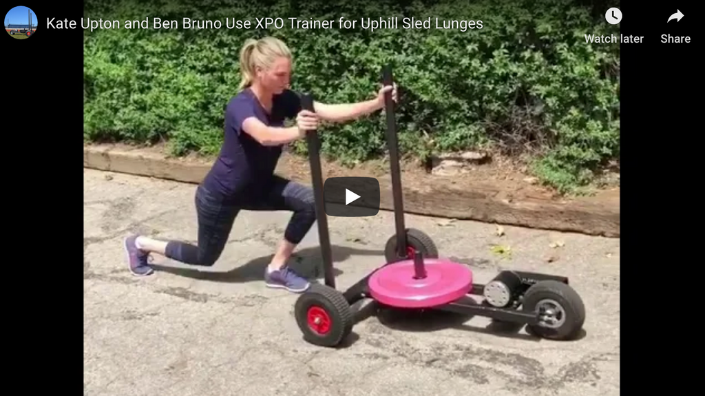 Ben Bruno Training: Kate Upton Uses XPO Trainer for Uphill Sled Lunges