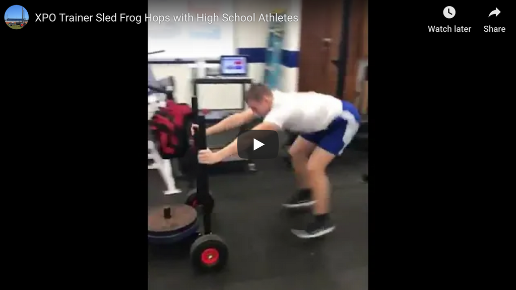 XPO Trainer Push Sled Frog Hops with High School Athletes
