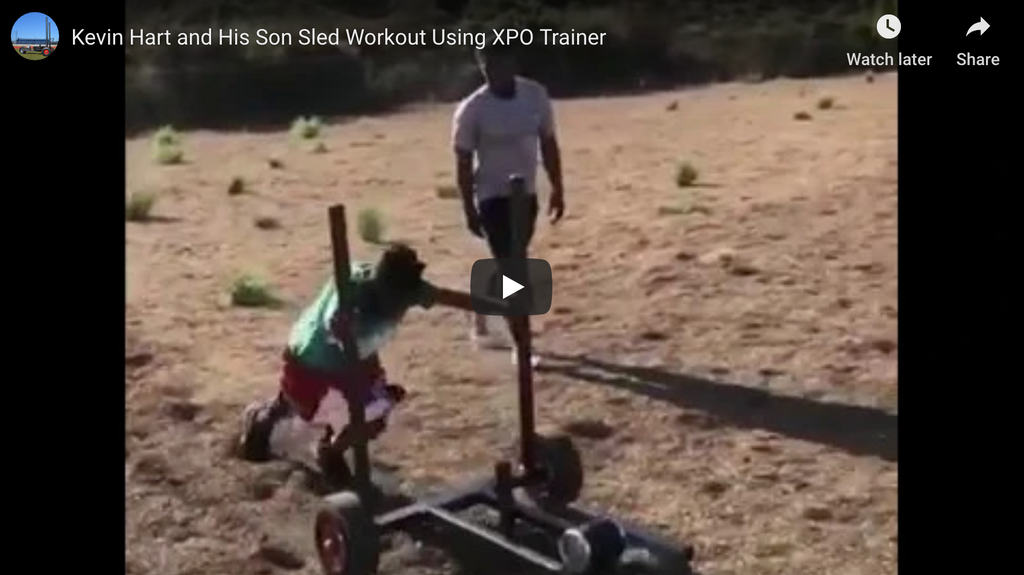 Kevin Hart and Son Push Sled Workout Using XPO Trainer