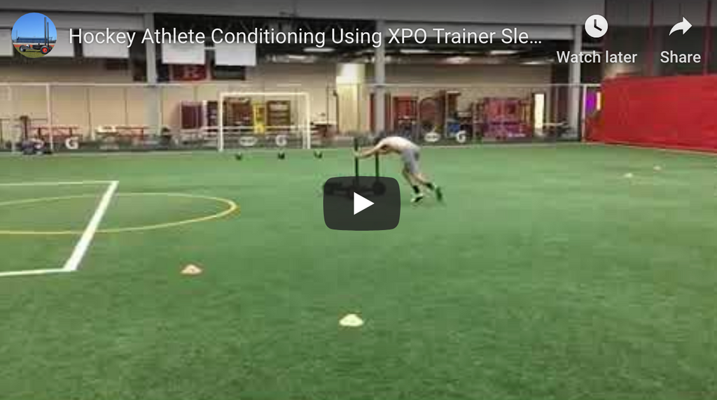 Hockey Athletes Use XPO Trainer Push Sled at Base Sports Conditioning