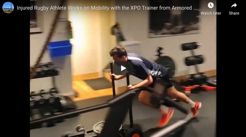 Injured Rugby Athlete Works on Mobility with the XPO Trainer from Armored Fitness Equipment