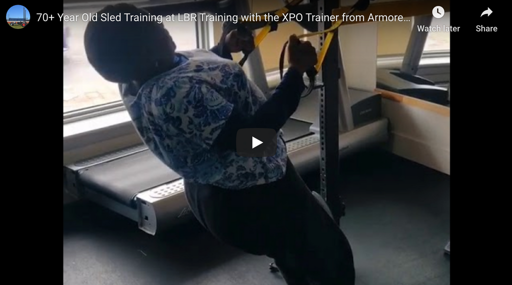 70+ Year Old Push Sled Training at LBR Training with the XPO Trainer from Armored Fitness