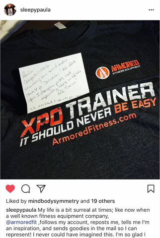 Instagram post from XPO Trainer customer @sleepypaula sharing her suprise gifts from Armored Fitness