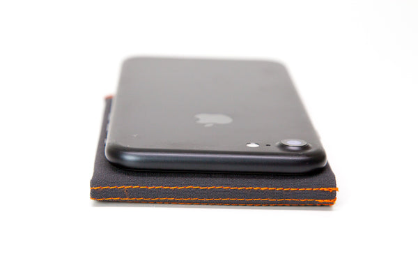 Slim Fold Thin Wallet Charcoal Orange Soft Shell