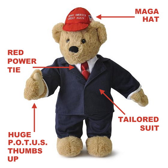 "DEPLORABEAR 15"" Trump Teddy Bear That Stands Up For America"