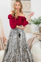 Off the Shoulder Long Sleeve Snake Printed Maxi Skirt