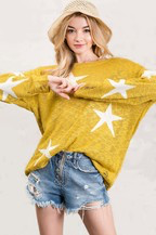 Star Sheer Knit Lightweight Boyfriend Sweater