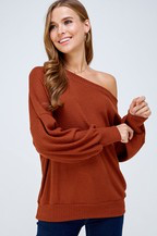 Rust flannel off the shoulder