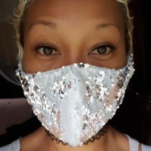 REVERSIBLE White/Silver Sequin Face Mask