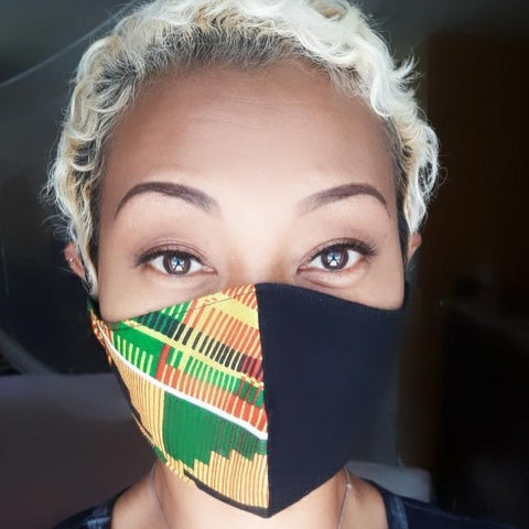 Kente & Black Face Mask