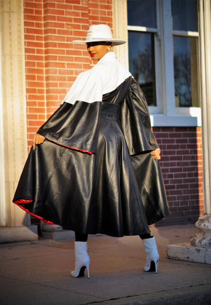 Ying Yang Leather Swing Coat