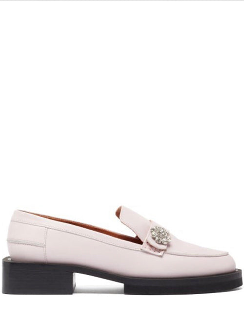 GANNI Crystal embellished loafers