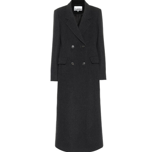 GANNI double-breasted wool blend coat