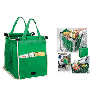 Reusable Shopping Cart Bags for Grocery Shopping in Supermarket Foldable Shopping Bags, Green
