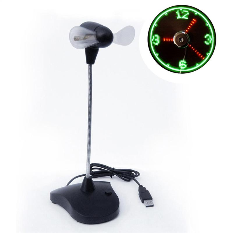 USB LED Cooling Flashing Clock Fan with Gooseneck for PC Laptop Notebook Desktop (Black)