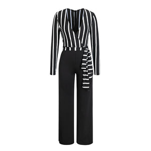 Glamaker stripe long sleeve sexy jumpsuit Women overalls deep v party playsuit Autumn wide leg winter jumpsuit jumpsuits rompers