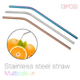3pcs Multicolor Reusable Stainless Steel Straws Eco-friendly Bent Straw Drinking Metal Straws Random Color