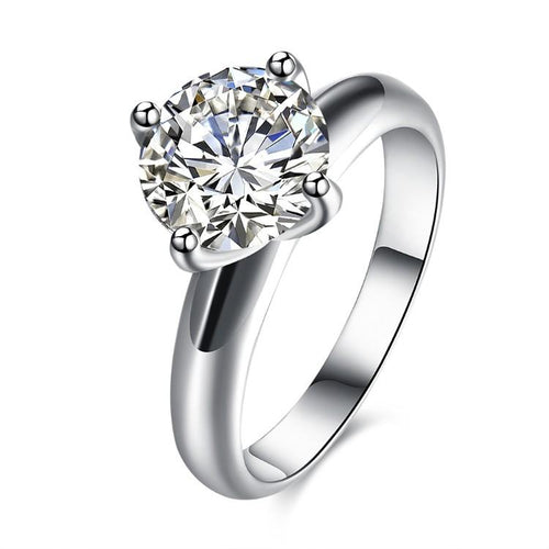 14k White Gold Crystal Single Solitaire Princess Cut Engagement Ring Set