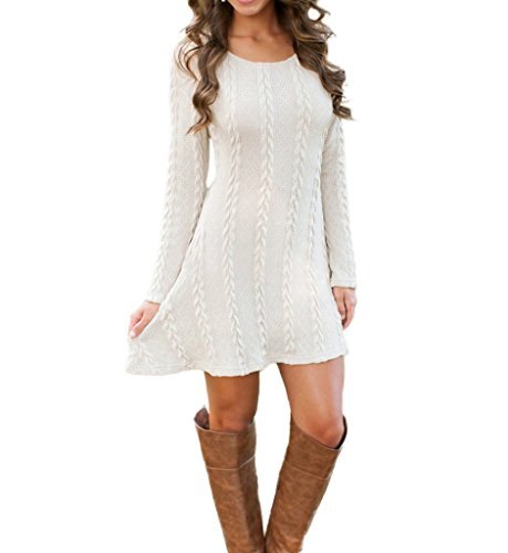 Mansy Womens Knitted Crewneck Sweater Dress at Amazon Women'€™s Clothing store: