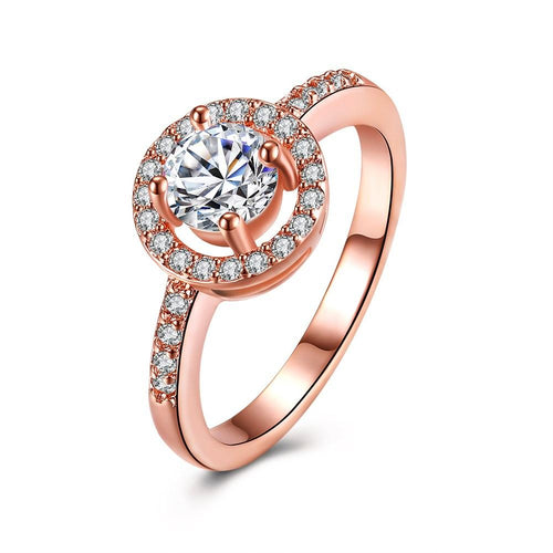 2.00 CT Circular Halo Pave in 18K Rose Gold Engagement Ring with Swarovski Crystals