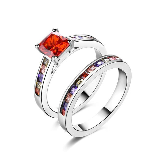 Rainbow Crystals Duo Band Rings in White Gold