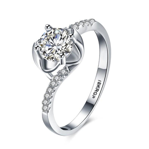 1.00 CTTW Engagement Cut Floral White Crystal Pave Engagement Ring