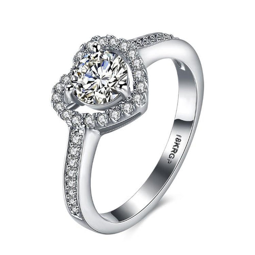 14k White Gold Plated Crystal Heart Princess Cut Engagement Ring