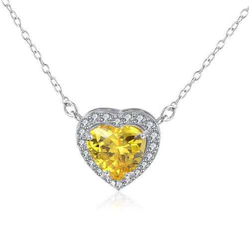 5.00 CT Yellow DiamondSterling Silver Heart Necklace