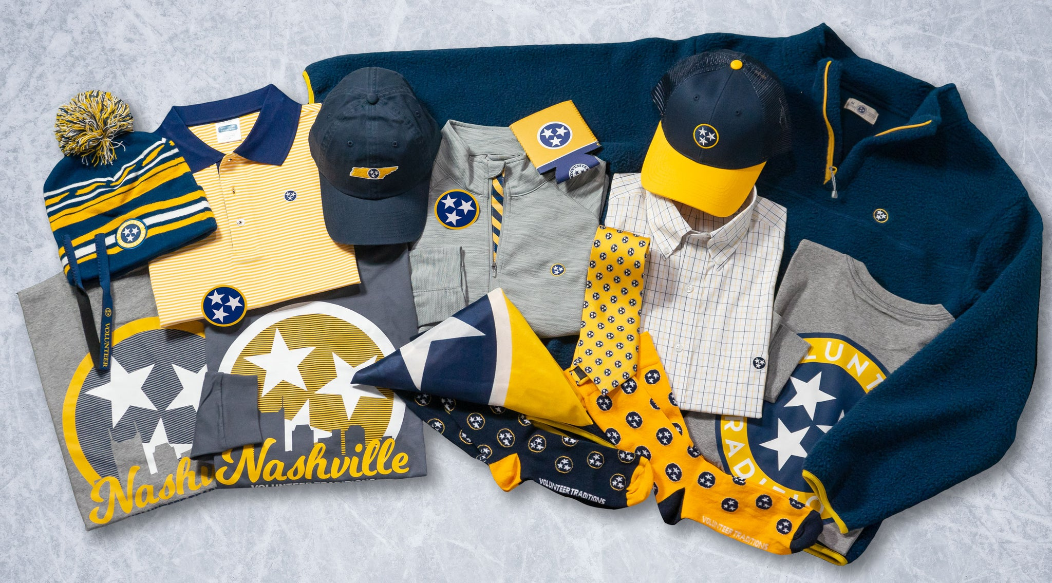 navy gold tennessee flag tristar fleece hats tees polos clothing