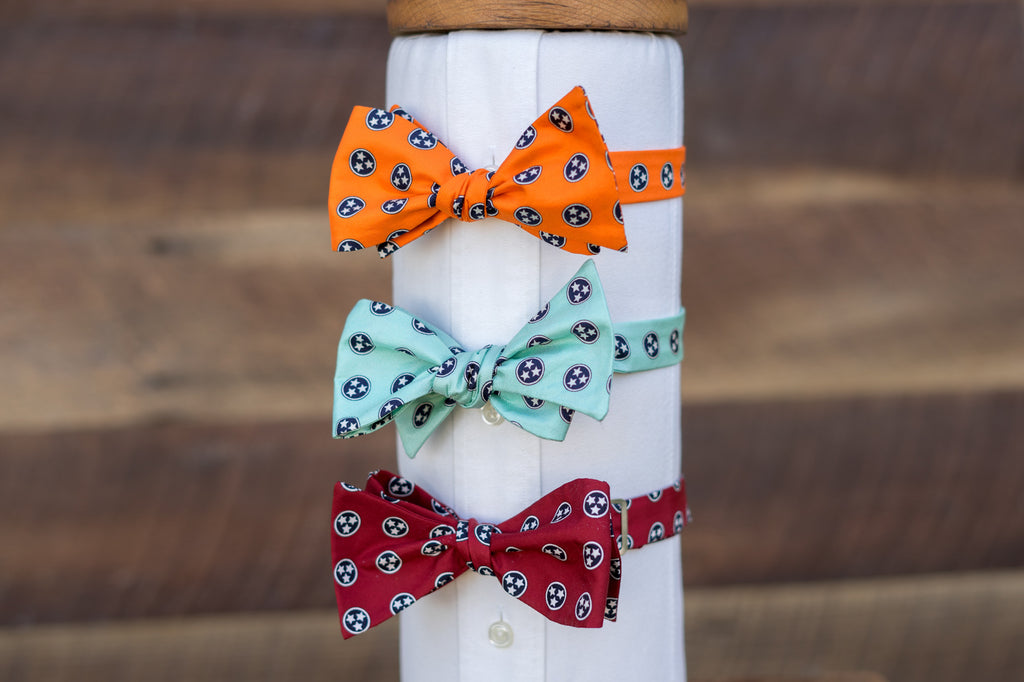 Tennessee Flag Bowties in Orange, Mint, and Red.