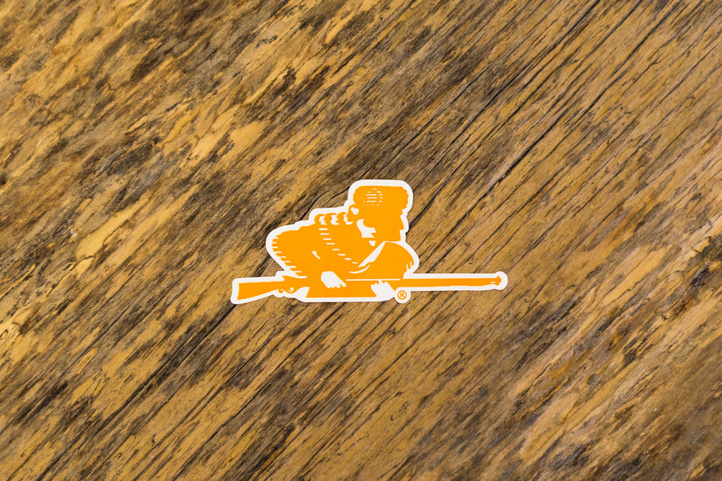University of Tennessee Licensed Decal Stickers on Wood. Orange Rifleman Decal.