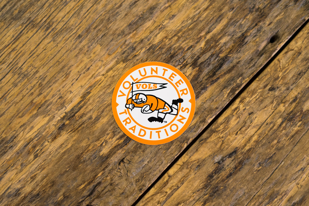 University of Tennessee Licensed Decal Stickers on Wood. Running Vol University of Tennessee Circular Decal.