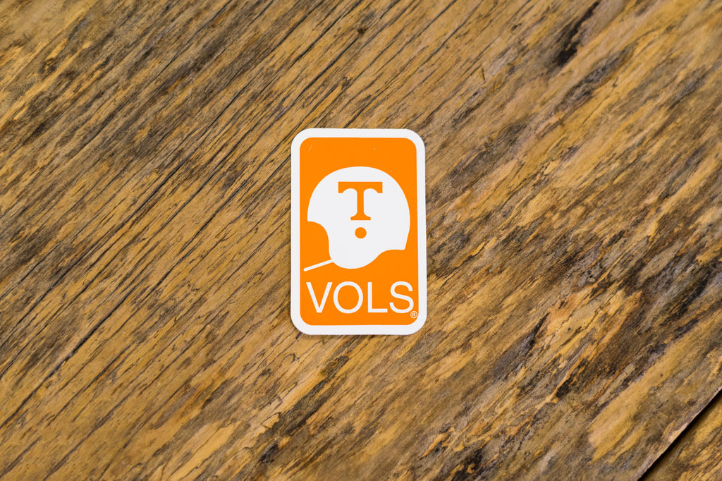 University of Tennessee Licensed Decal Stickers on Wood. Orange University of Tennessee Helmet Decal.