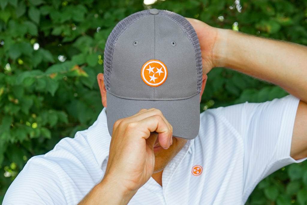 Volunteer Traditions Grey ProMesh Tristar hat featuring an Orange Tristar and Grey Mesh.