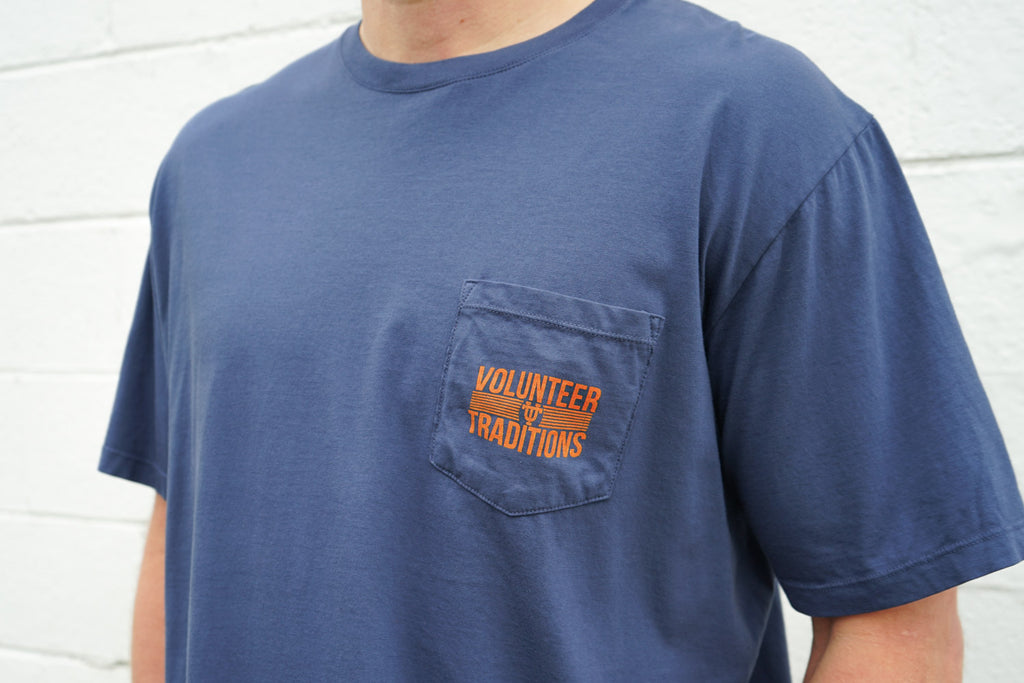 Volunteer Traditions University of Tennessee Navy Interlocking UT Short Sleeve Pocket Tee from the front.
