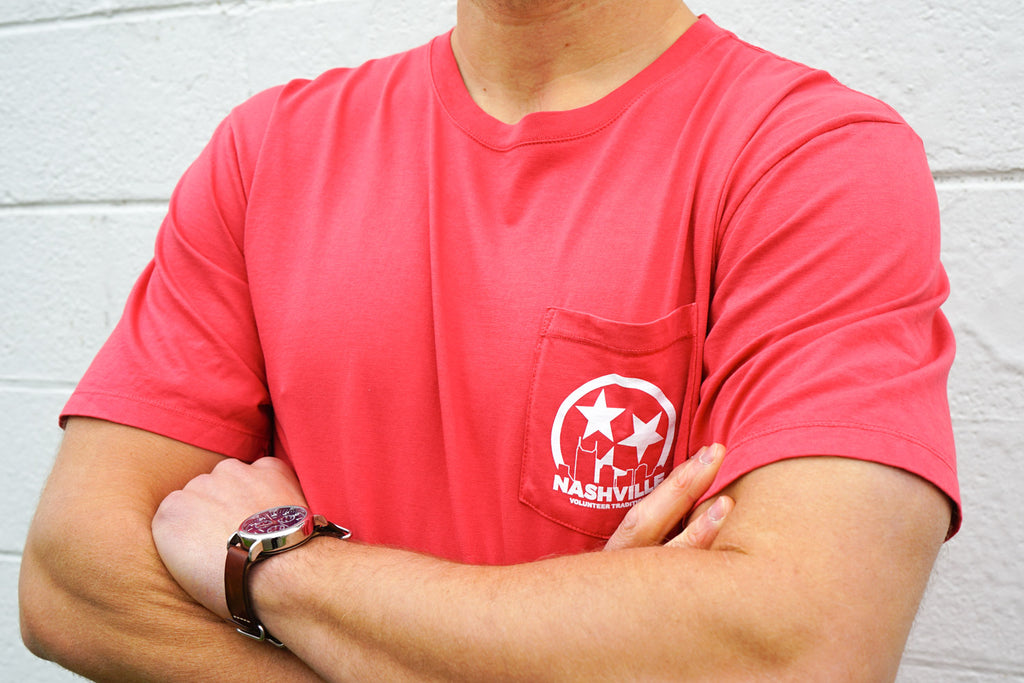 Volunteer Traditions Red Nashville Short Sleeve Pocket Tee from the back.