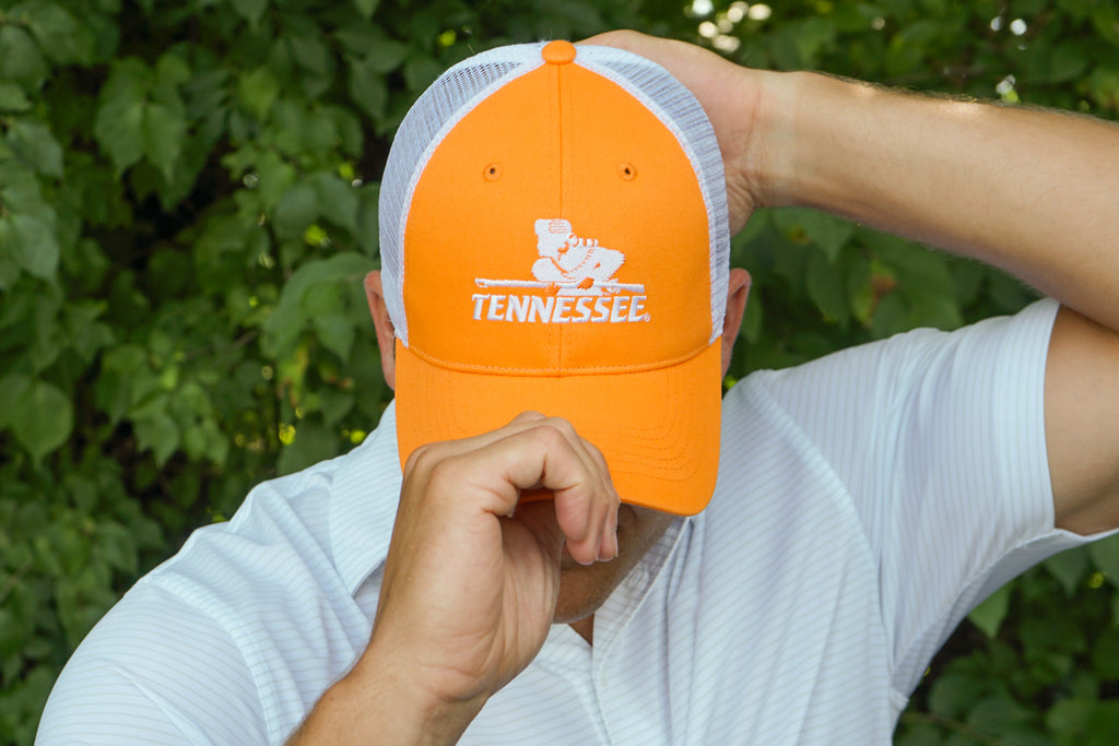Volunteer Traditions University of Tennessee Rifleman Orange Promesh Hat with White Mesh.