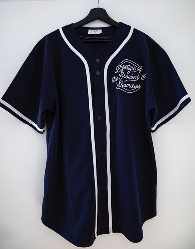 "Baseball Jersey ""crooked and shameless"" marine blue"