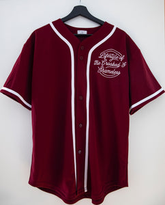 "Baseball shirt ""crooked and shameless"" red"