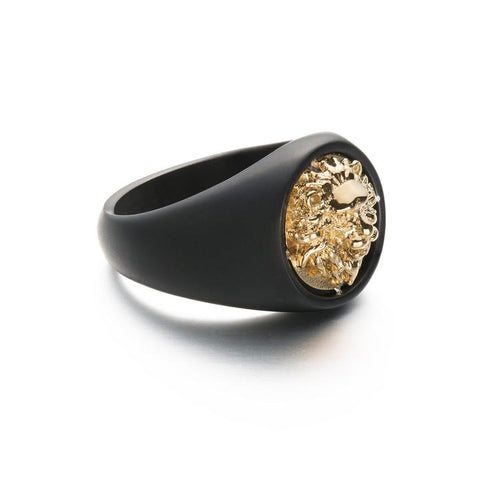 TWO TONE LION RING - GOLD