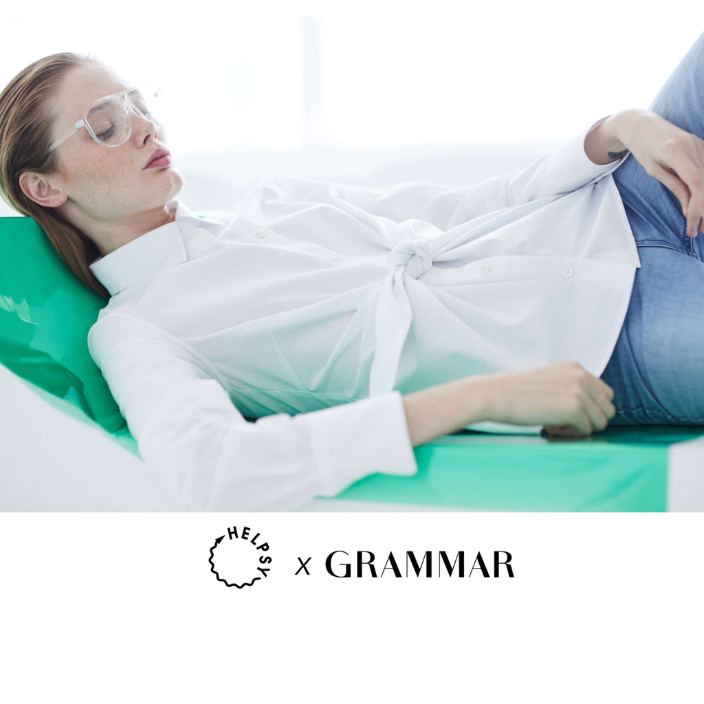 Conjunction white shirt by Grammar NYC sustainable fashion organic cotton Helpsy Rachel Kibbe