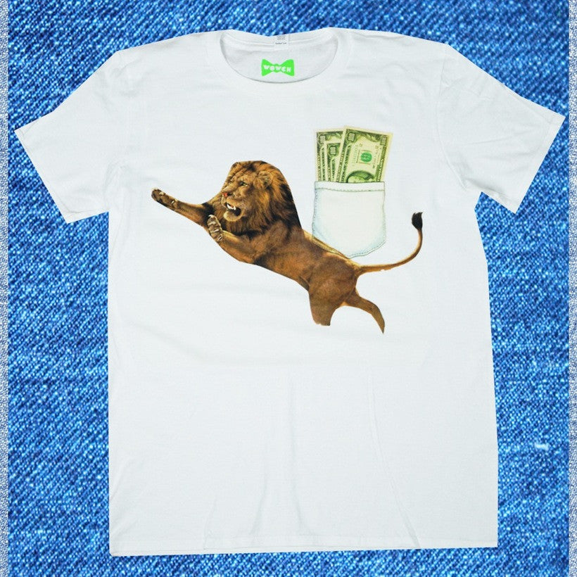 WOWCH Money Management  White Crewneck Tee in Organic Cotton