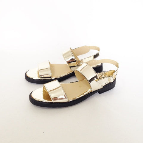 Olympia Vegan Leather Sandals in Gold Mirror