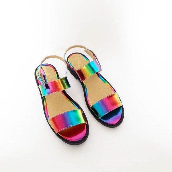 Iridescent Vegan Sandals, In Rainbow