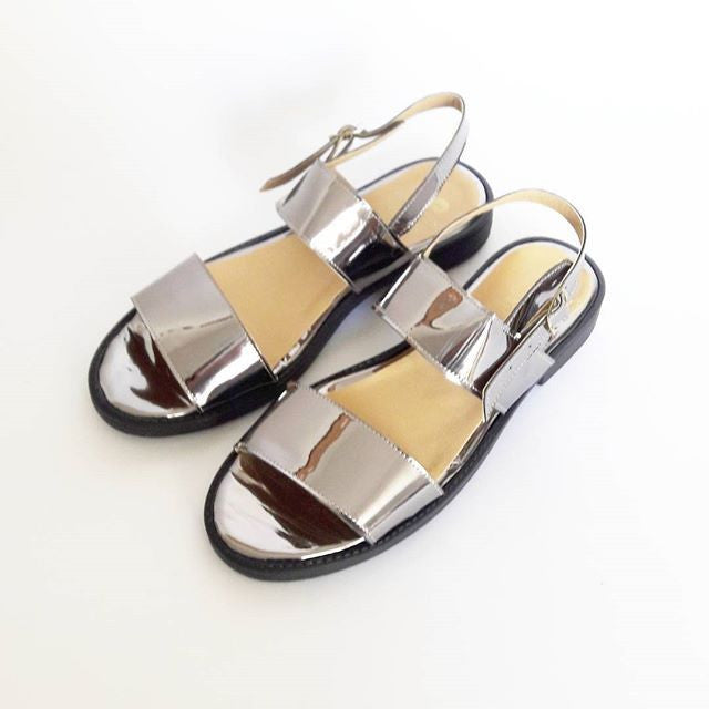Olympia Vegan Leather Chunky Sandals in Silver