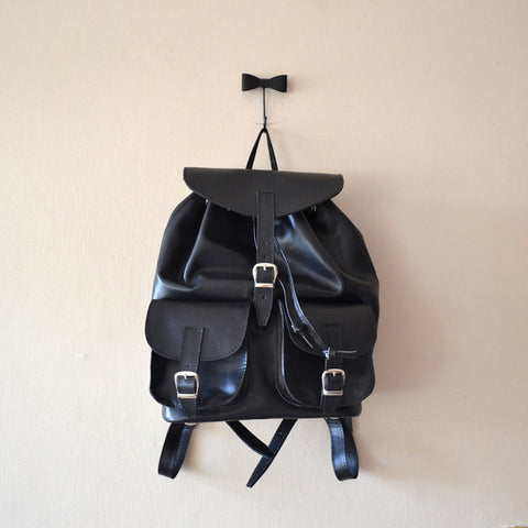 Backpack/Rucksack, black vegan leather