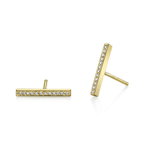 Carrie Hoffman Pave Bar Studs 14kt gold